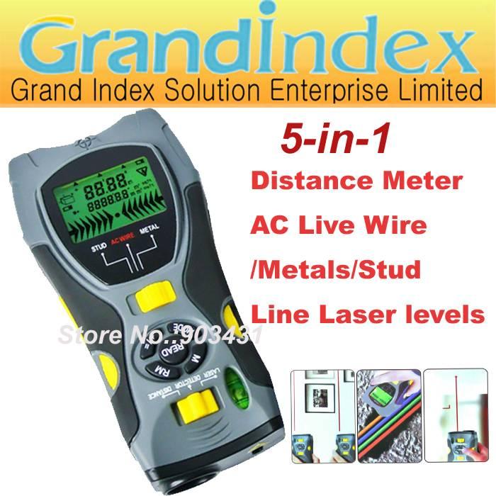multifunction gauge SK109A:Distance Meter/ AC Live Wire/Metals/Stud Detector/Line Laser Levels,5-in-