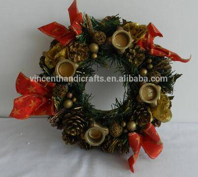 Christmas ornament artificial bowknot pinecone wreath with candle holder