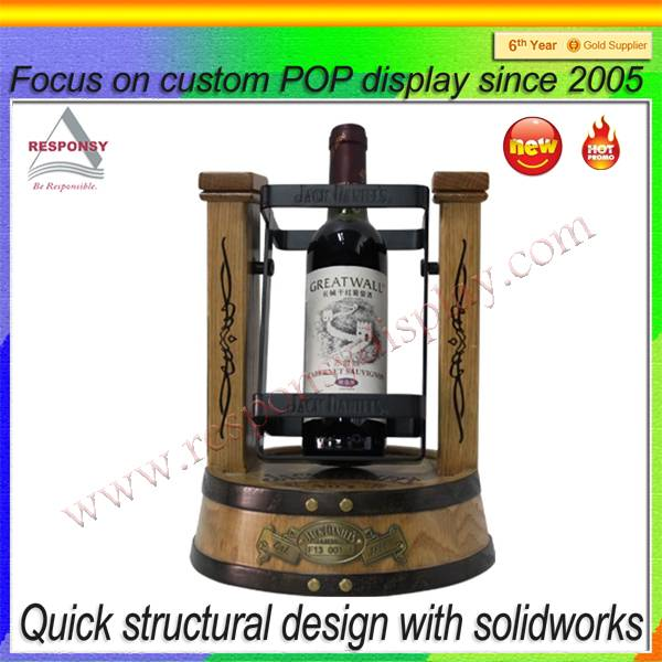 Customized OEM & ODM counter wooden wine bottle cradle display stand