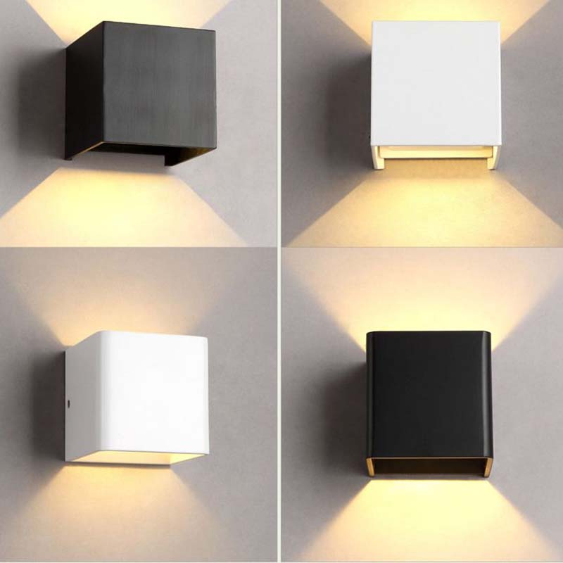 2018 6w 12w modern cube adjustable up down led wall light