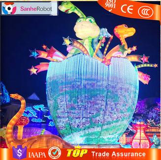 Huge lighted animals show dinosaur lantern for land lantern festival