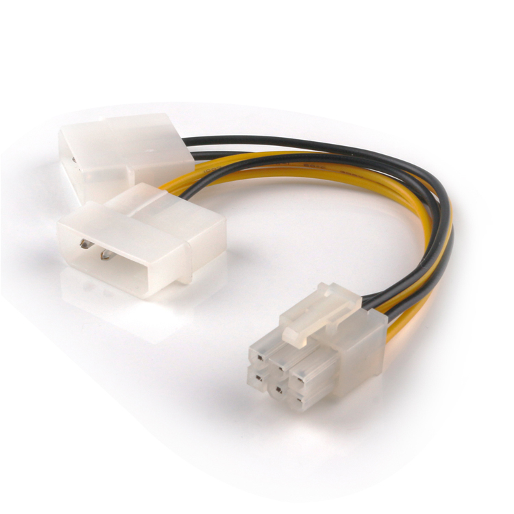 SATA Power Cable PCI-E 6Pin Female to Molex 4pin x2 Splitter Power Cables 15CM