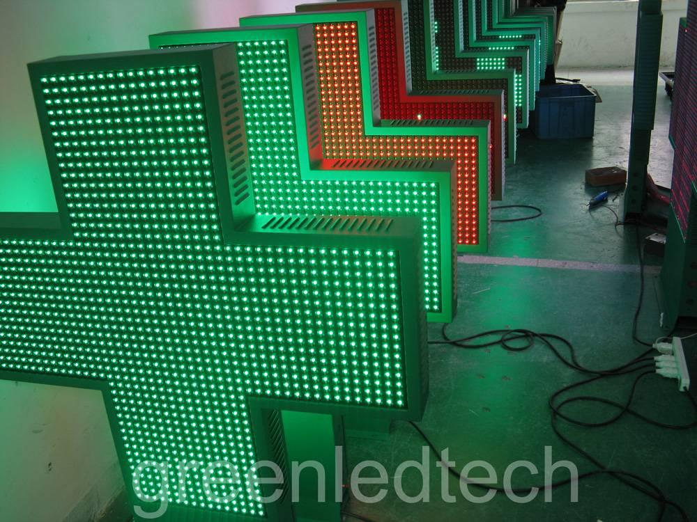 Green LED pharmacy cross 100x100cm