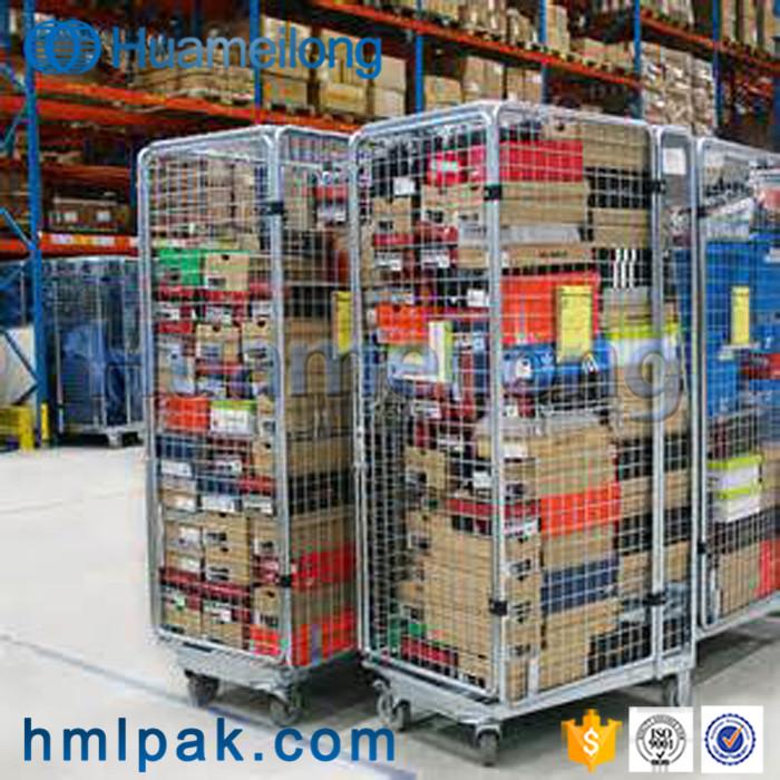 Detachable supermarket logistics safety folding metal wire mesh storage roll handling trolley