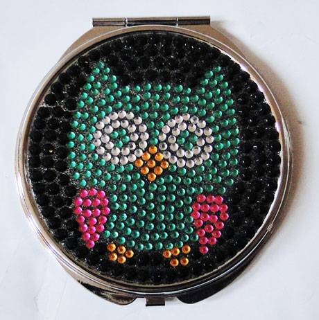 Stone Owl Pattern Pocket Mirror