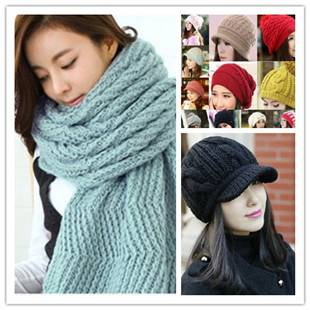 2015pretty hand knitted hat and scarf winter hat