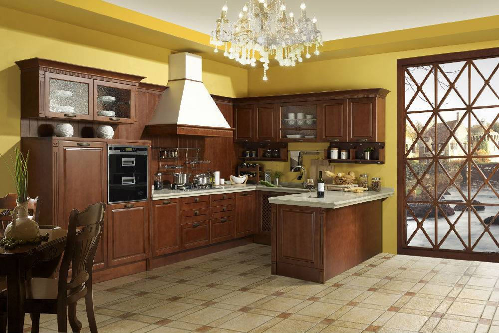 Palenque--Solid wood kitchen cabinets with cherry wood doors