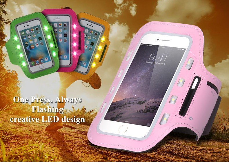 2017 Fashionable Neoprene Running Led Phone Armband for Promotions
