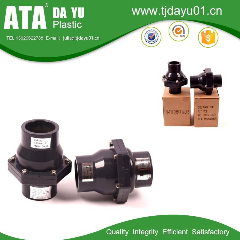 UPVC swing check valve Socket or Thread ends size from DN20 to DN150
