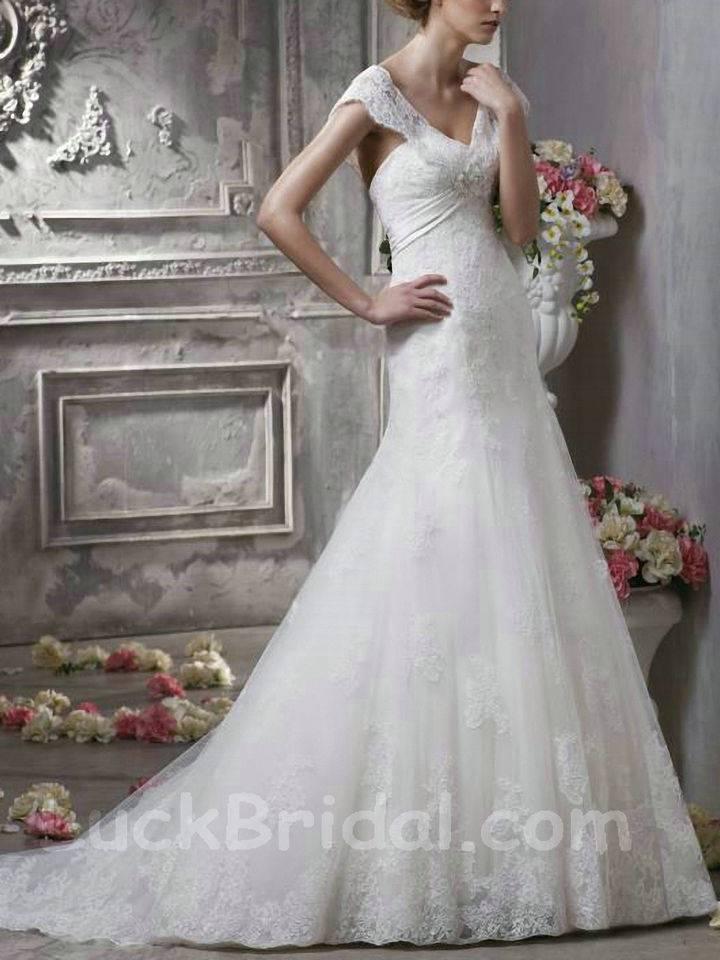 A Line Off The Shoulder Lace Wedding Garment Elegant V Neck Satin Wedding Dress
