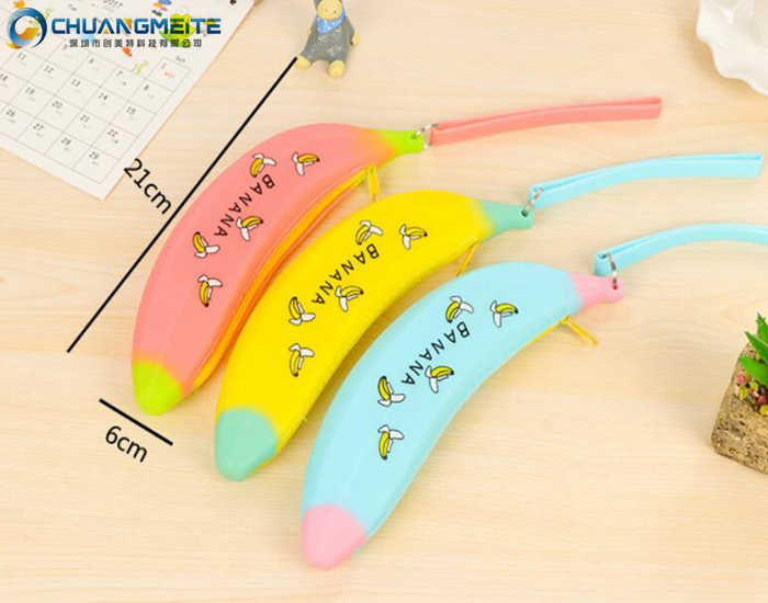 New style banana shaped zipper silicone pen bags makeup coin purses promotion bags