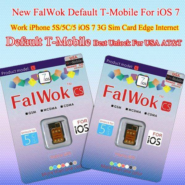 Default T-Mobile Unlock sim card for iPhone 5S/5C/5 Only Unlock USA T-Mobile Carrier use 3G sim card