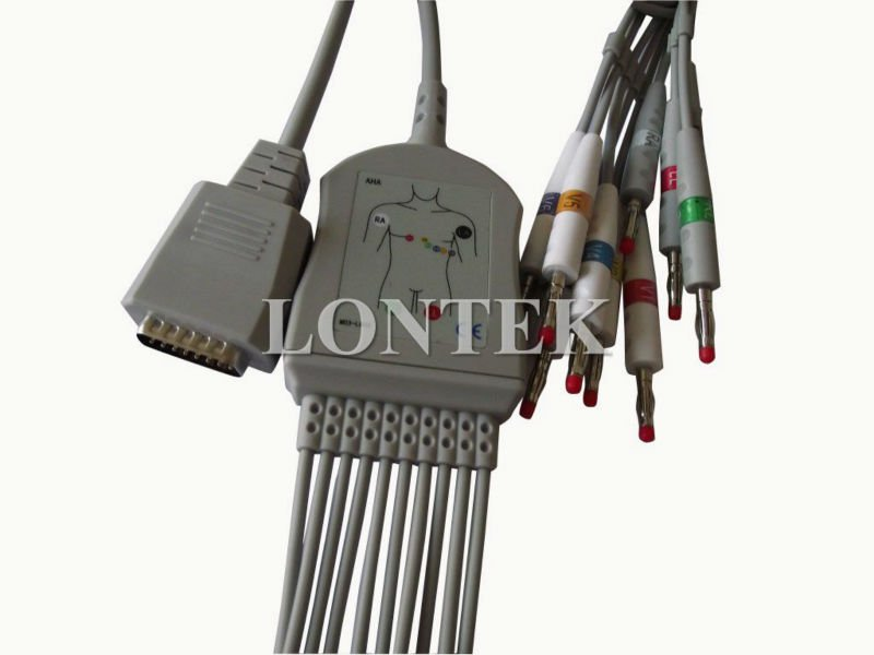 Burdick 10 lead ECG cable with intergrated leadwire CE approved