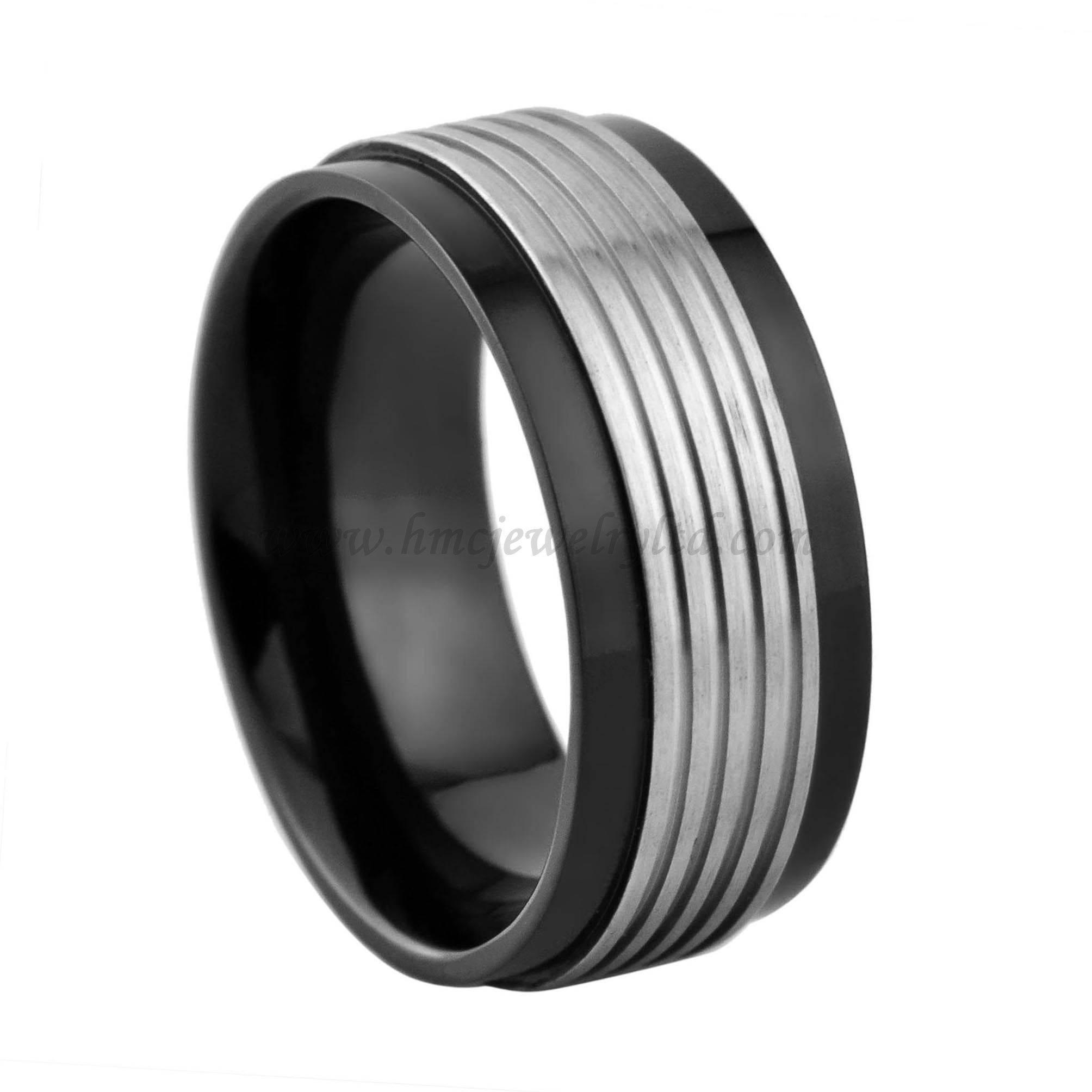 Men's black plated titanium ring stainless steel ring
