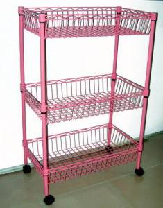 Colorful Metal Kitchen Basket Rack with Wheel
