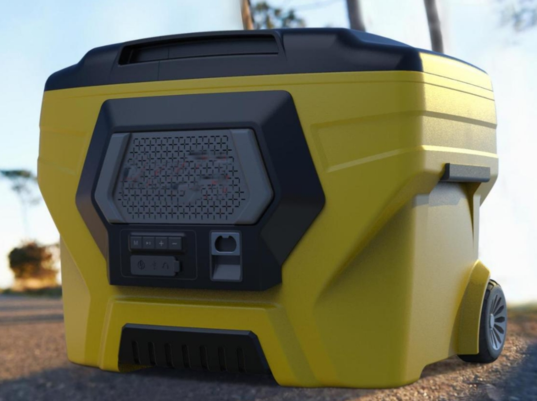 50L Camping wheeled cooler box with bluetooth speaker