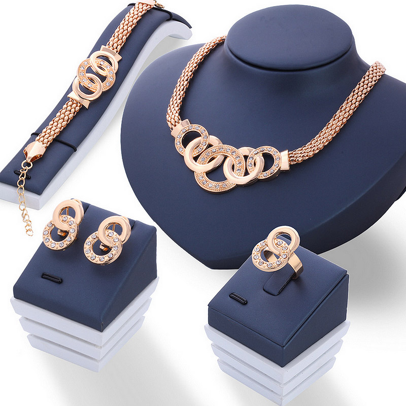 Luxury Rhinestone Ring Golden Net Chain Party Jewelry Set