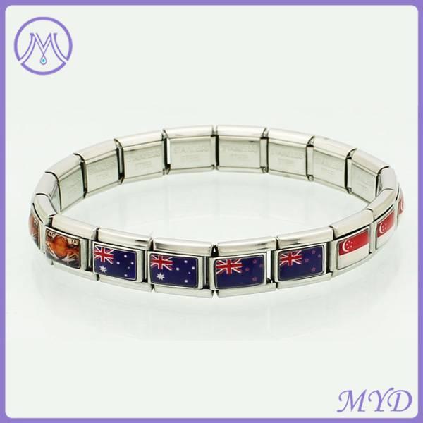 national flags enameled stainelss steel italian charm bracelet