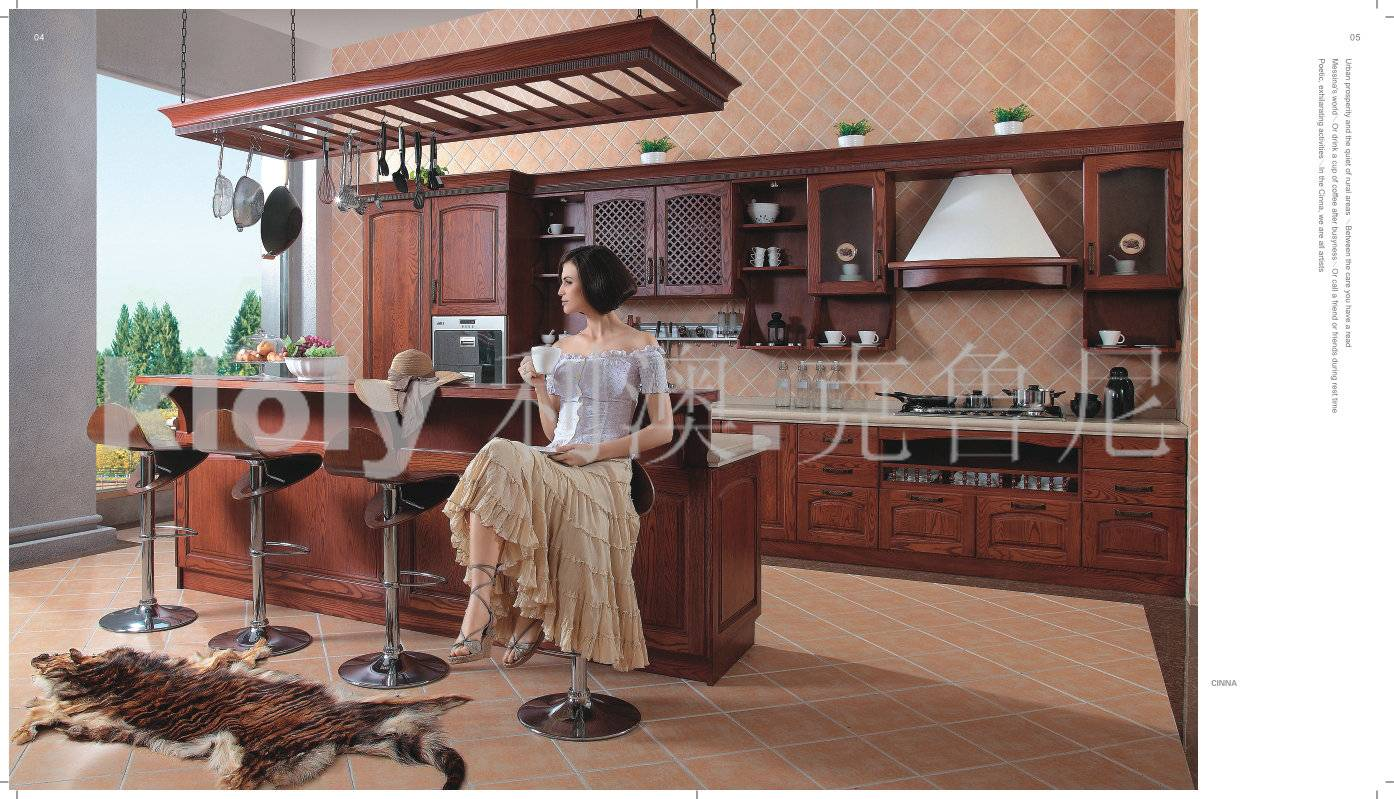 Cinna--Solid wood kitchen cabinets with ash wood doors