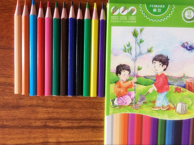 Mini 12 color plastic pencil in color box