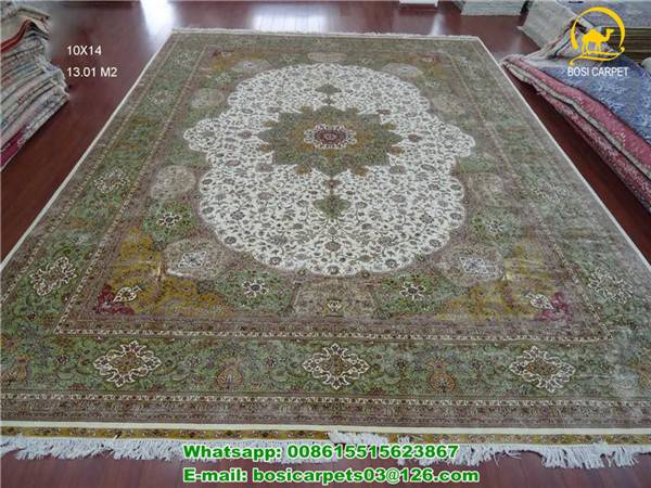 Green color 230lines silk handmade rug 10x14ft big size persian silk rugs