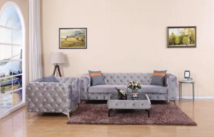 Antique American Style Velvet Fabric Grey Color Wood Frame Couch Sofa for Living Room