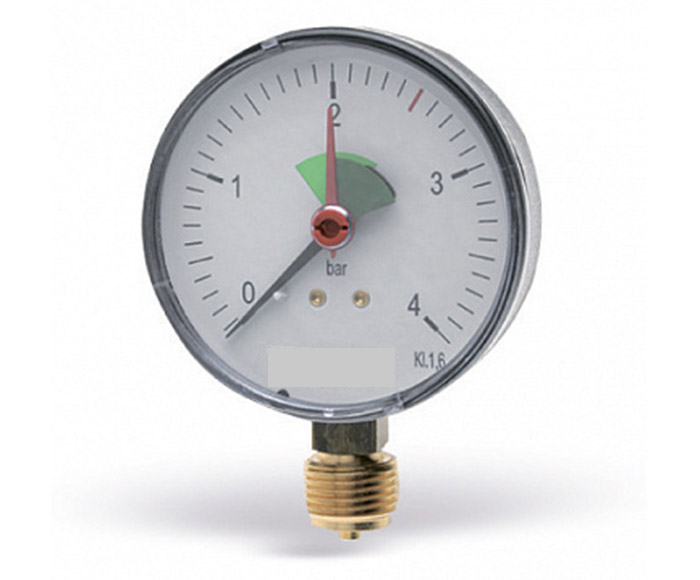 Pressure gauge with green sector and red pointer