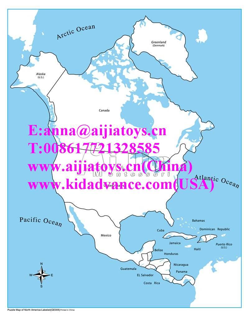 Montessori Labeled North America Control Map,montessori toys
