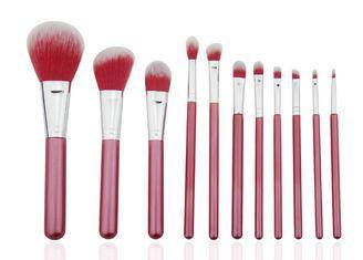 Beautiful Travel Professional Makeup Brush Set 11 Piece With Nylon Hair Red Color