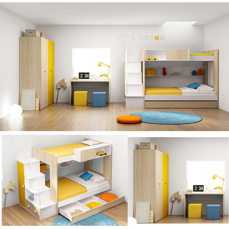 Durable mdf children bunk bed furniture set