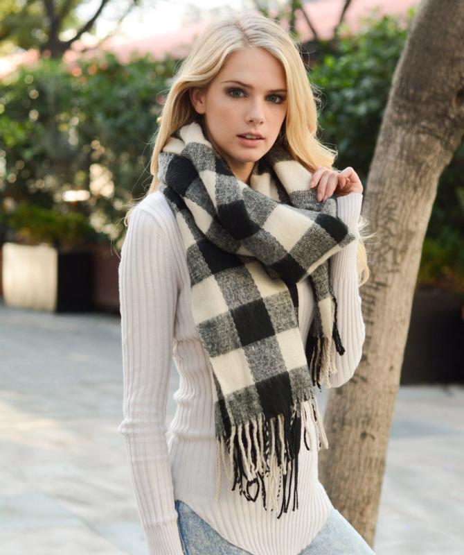 Soft Winter Warm Large Plaid Checked Pashmina Scarf Shawl Wraps Manufacturer