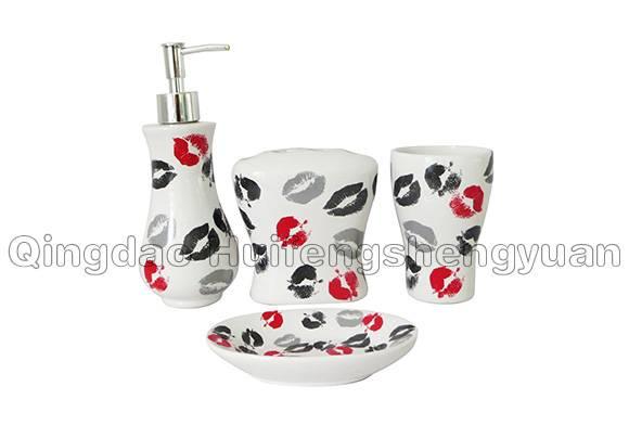 decal ceramic bathroom set