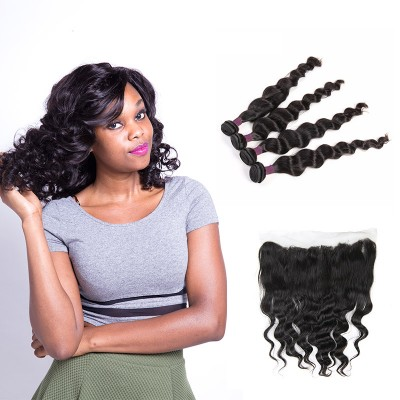 [9A]4 Bundles Brazilian Loose Wave Hair Weave With Lace Frontal