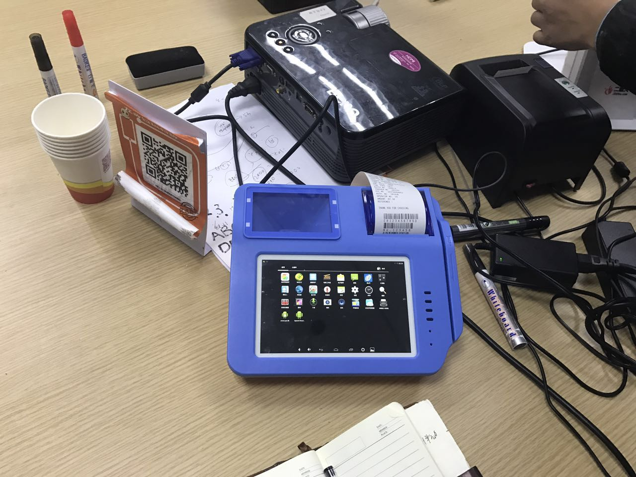 Quad Core 7'' Android POS with thermal printer and 3G