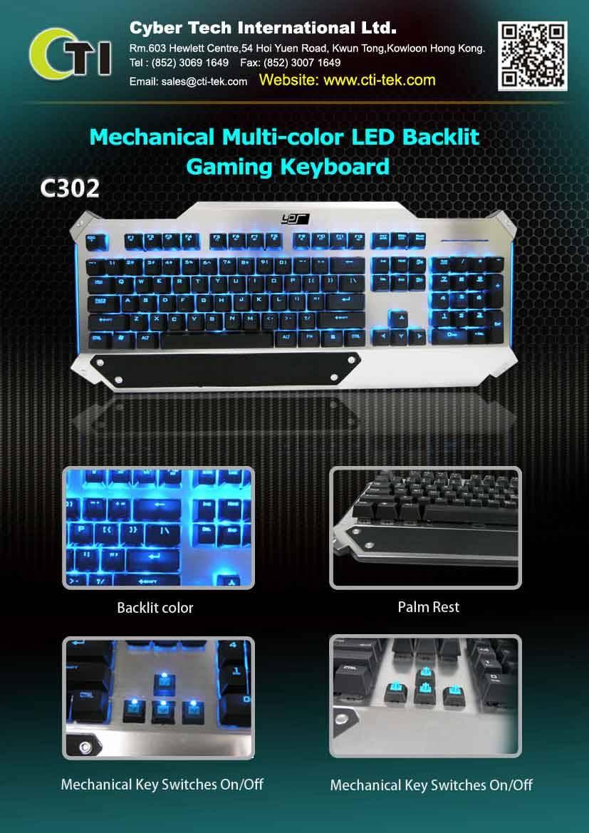 Mechanical Multi-color LED Backlit Gaming Keyboard(Option)k