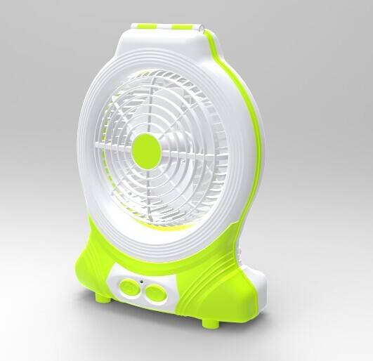 "Rechargeable 8"" fan with LED lamp"