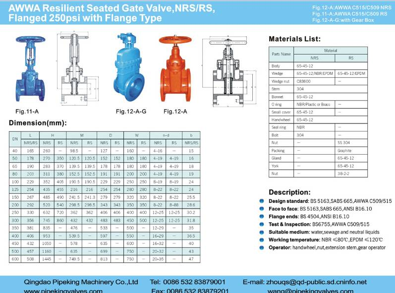 AWWA Resilient Seated Gated Valve flanged
