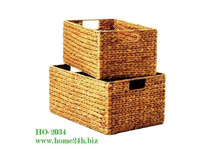 Handmade Water Hyacinth Baskets s/2, good price & quality