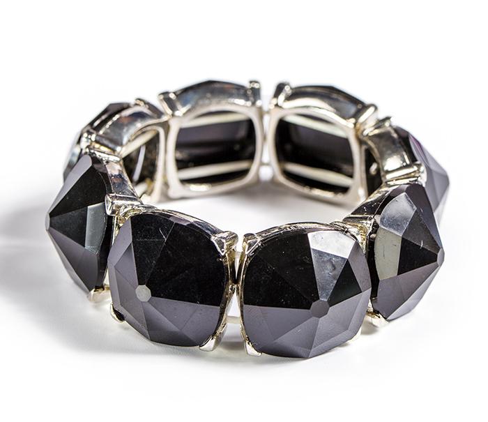 Fashion Punk Black Resin Bead Bracelet
