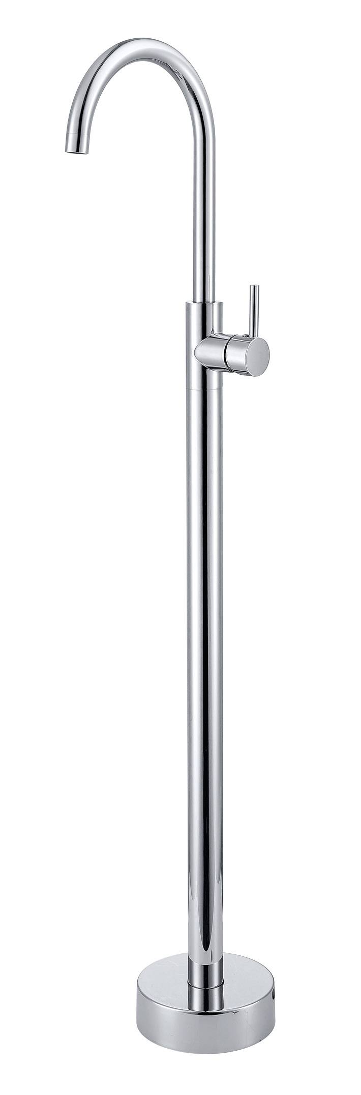 Solid Brass Contemporary Floor Standing Pedestal Bathtub Faucet- Chrome Finish