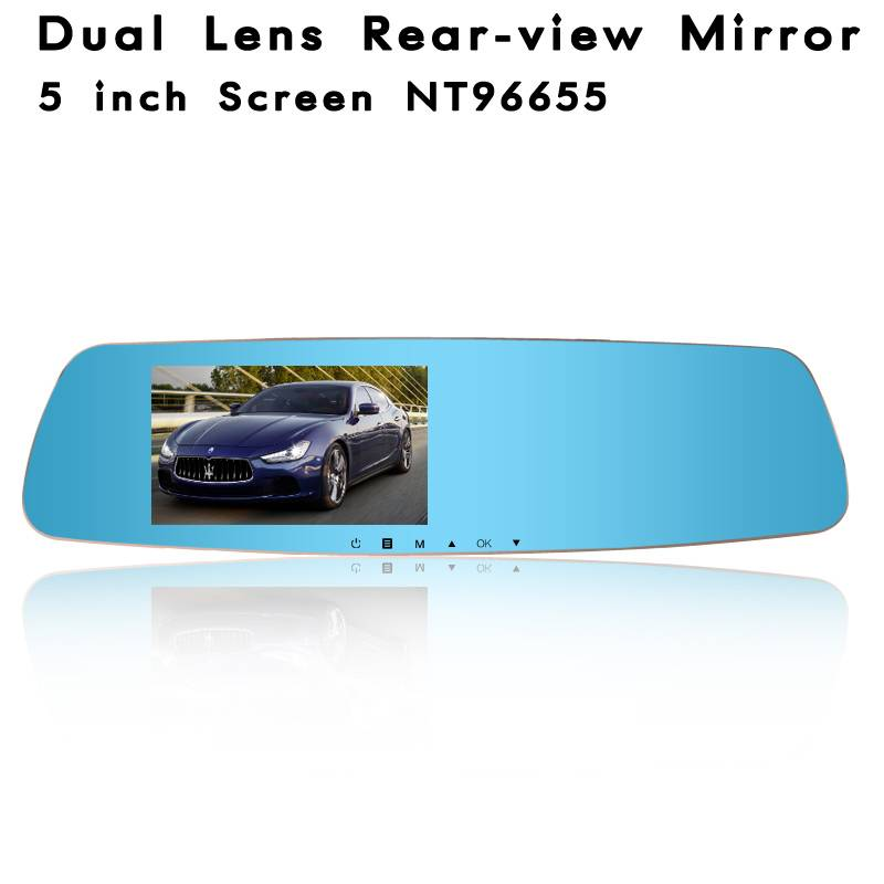 HD Dual Lens Rearview Mirror With NT96655 5.0 Inch Screen