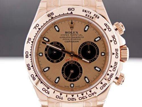 ROLEX DAYTONA PERPETUAL COSMOGRAPH 18K ROSE GOLD CHAMPAGNE DIAL EVEROSE 116505 LUXURY WATCH
