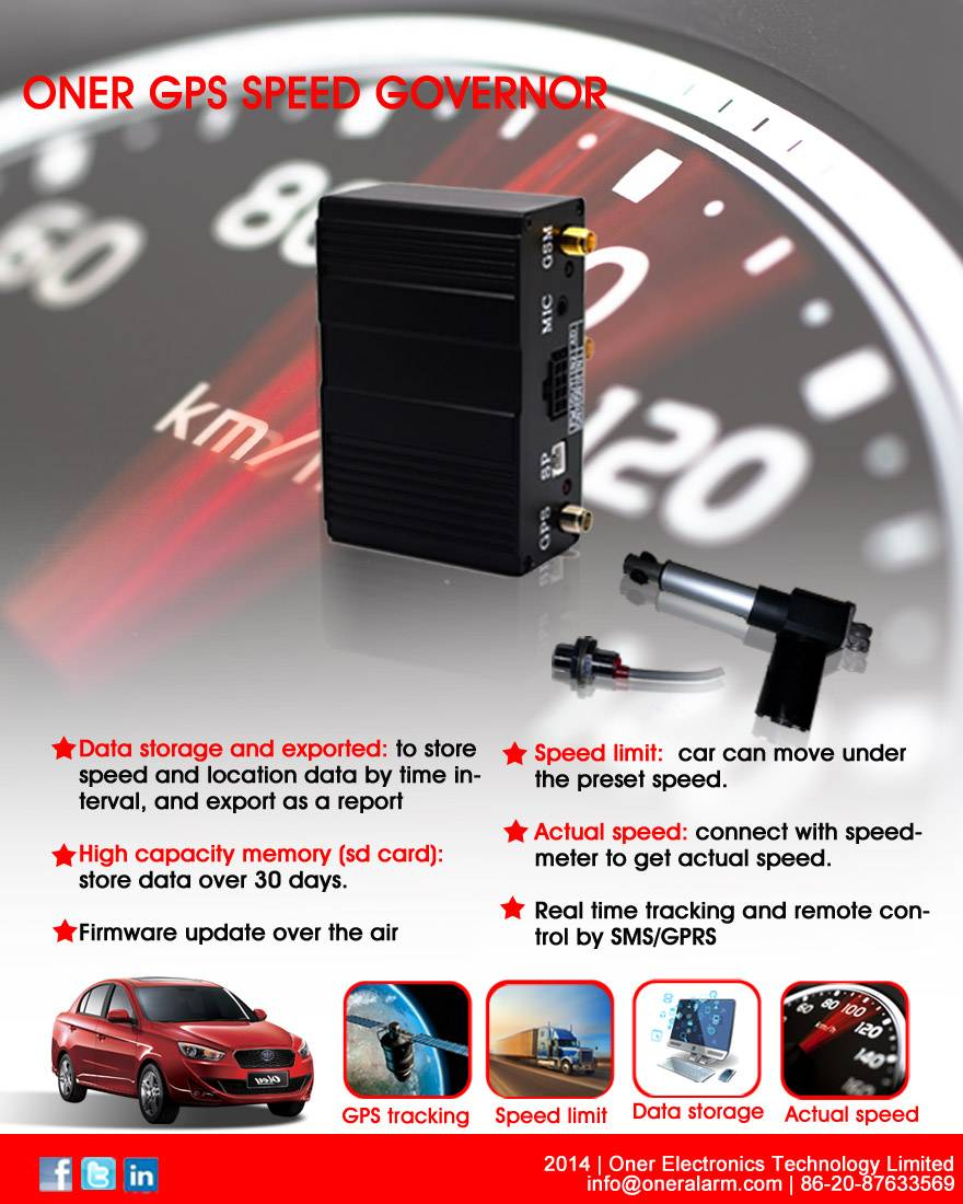 GPS vehicle tracker with speed limit control, speed governor