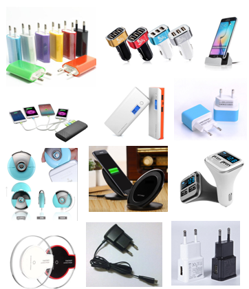 Various types of mobile phone charger