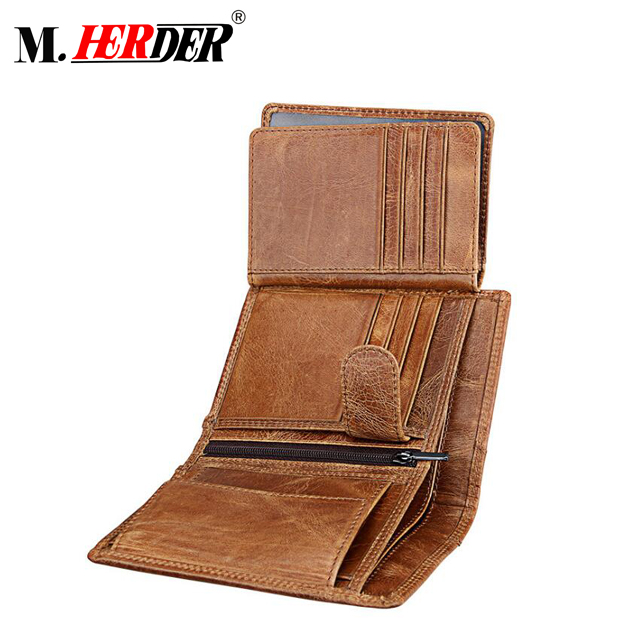 Guangzhou factory Genuine Leather RFID Blocking Men Wallets Trifold