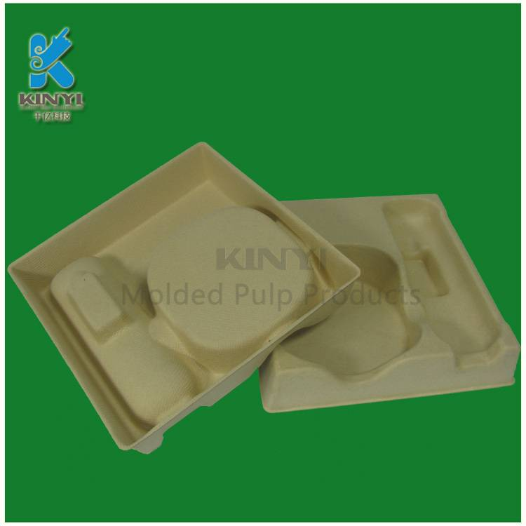 Paper pulp molded electronic packaging tray, environmental and biodegradable