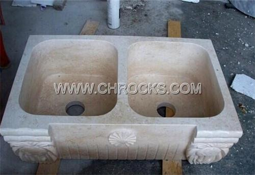 galala yellow marble kitchen sink