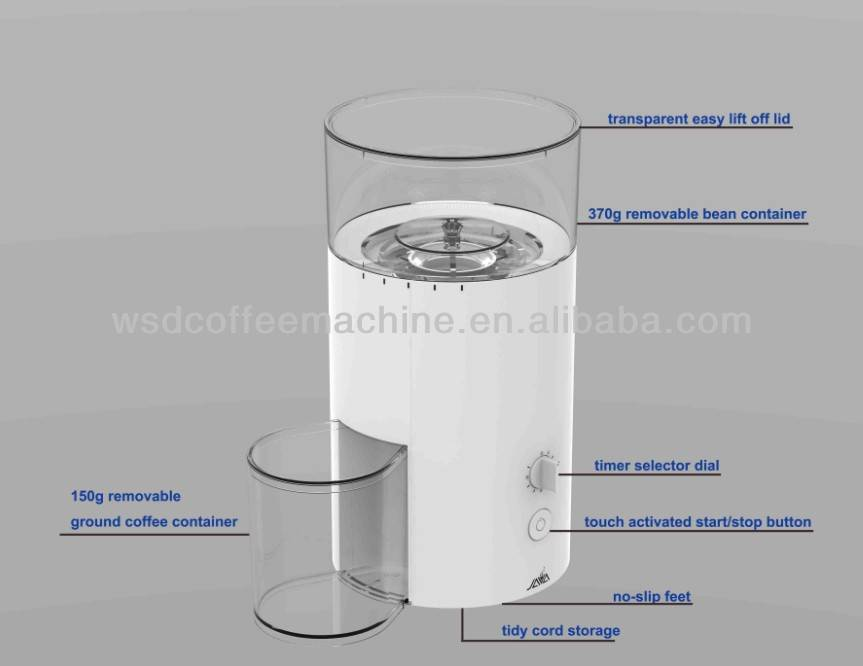 WSD18-080 Electric, Italian Conical Burr Coffee Beans Grinder