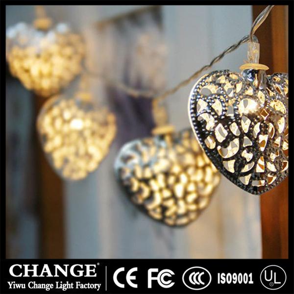 Tieyi metal heart lamp love battery fairy string light LED Christmas festive wedding party decor