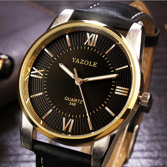 Newest brand high quality waterproof mens watches business leather watches